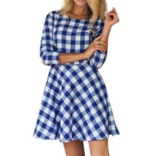 Spring 2019 Ladies Casual Plaid Printed Pleated Mini Dress Summer Womens Three Quarter Sleeve O-neck Formal Party Dresses #Zer