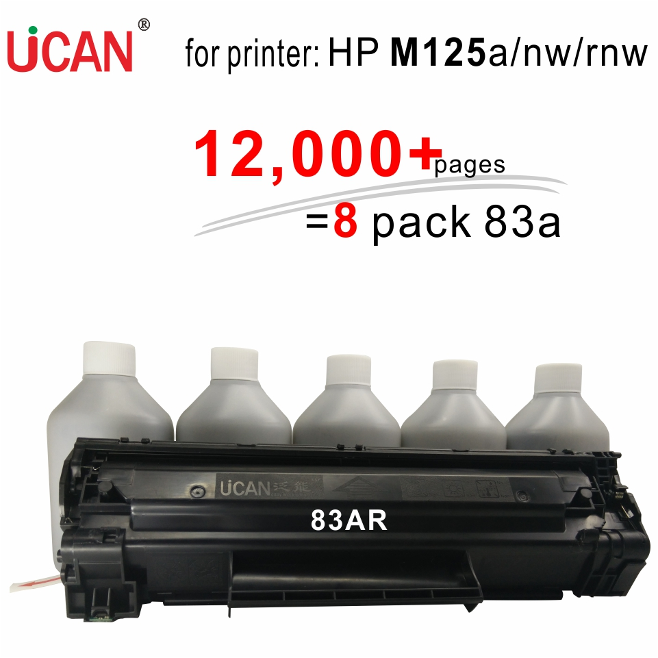 for HP LaserJet Pro MFP M125a M125nw M125rnw Printer UCAN 83AR(kit) 12,000 pages equal to 8-Pack ordinary CF283A toner cartridge for hp 283 cf283a toner powder and chip for hp laserjet pro mfp m125 m127fn m127fw laser printer free shipping hot sale page 11