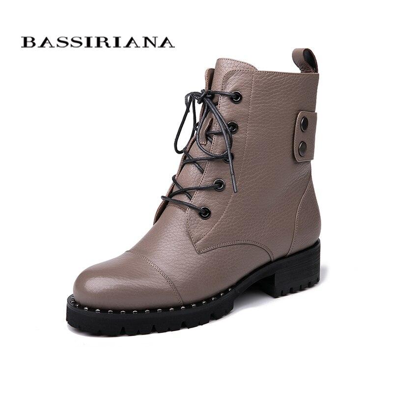 BASSIRIANA 2018 Femmes Bottes D'hiver En Cuir Véritable Lacent Chaussures De Mode Casual Chaussures Femmes Bottes taille 35-40