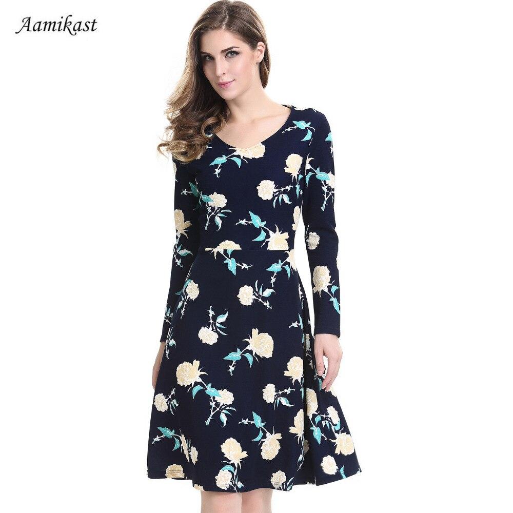 font b Women b font Dresses Retro Rockabilly Floral Swing Bow knot Tunic Vestido V