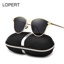 LOPERT Cat Eye Polarized Sunglasses Women Classic Brand Designer Glasses Luxury High Quality Gold Frame Mirror Sun Glasses UV400