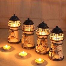 Candelabro de linterna Vintage de hierro de estilo mediterráneo soporte de vela de Torre faro candelabro para fiestas decoración de la boda del hogar