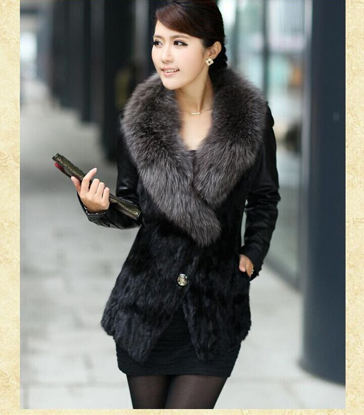 S/3Xl WomenS Patchwork Pu Leather Fur Jacket Winter And Autumn Mink Fur Sheep Skin Coat Short Large Size Casual Outwear J271