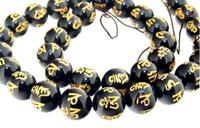 Unique Pearls jewellery Store Black Agate Carved Word Happiness 12mm Gemstone Loose Beads Full Strand 15 inches LC3 336