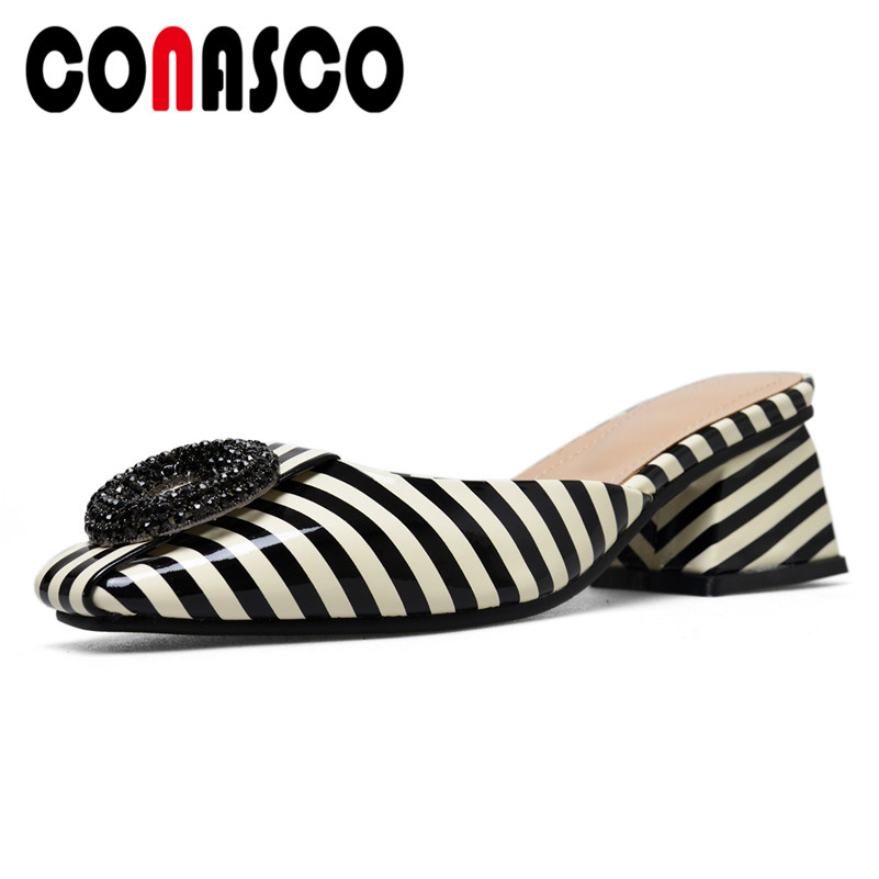 8e67d01f486 Detail Feedback Questions about CONASCO 2019 Fashion Women Summer High  Heeled Sandals BlingBling Striped Close Toe Mules Shoes Woman Female  Wedding Party ...