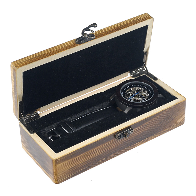 BOBO BIRD Luxury Brand Men's Mechanical Watches Black Wooden Watch Genuine Leather Strap relogio masculino Wood Gifts Boxes K10
