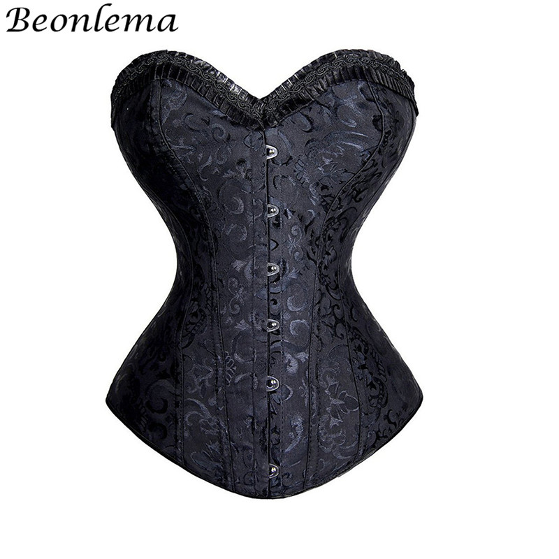 Beonlema Women Steel Boned   Corsets   And   Bustiers   White Burlesque   Corset   Sexy Lingerie Tops Corsage Waist Slimming Wedding   Corset