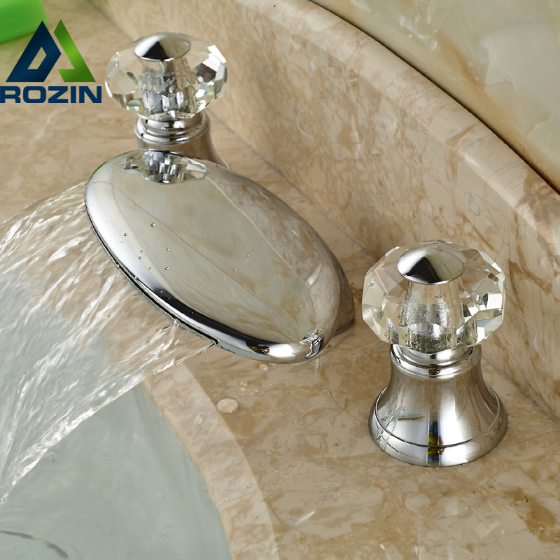 ФОТО Deck Mount Dual Handles Bathroom Waterfall Spout Sink Mixer Faucet Widespread 3 Hole Chrome Finish