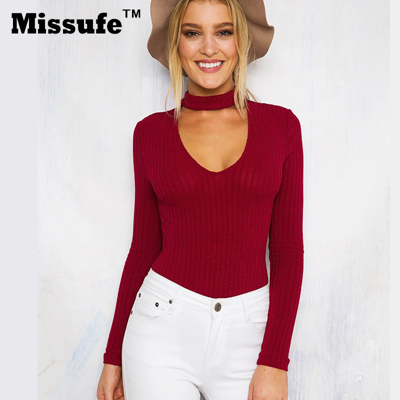 Missufe otoño Casual Knitted Playsuit pulóver Bodysuit Choker Neck Top mamelucos Slim cuello pico monos mujer Pull Femme