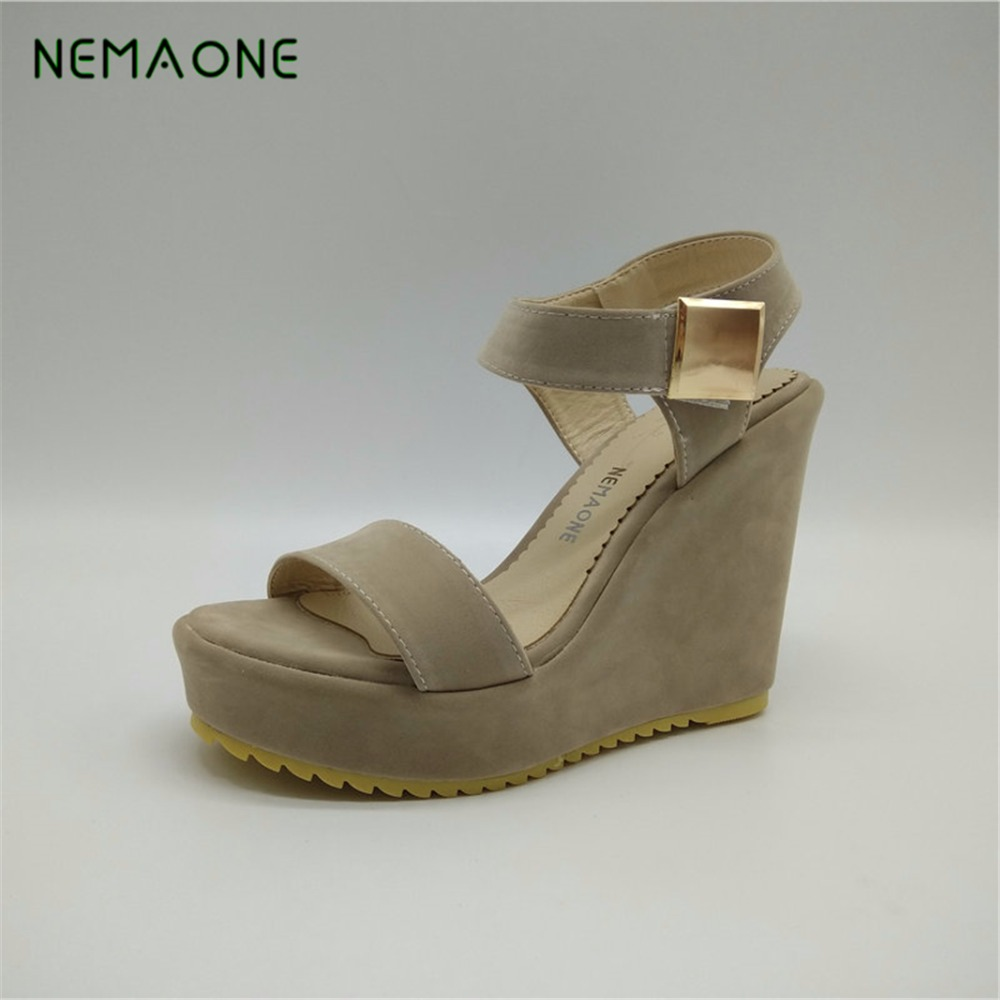 NEMAONE Superior Qality Summer style comfortable Bohemian Wedges Women sandals for Lady shoes high platform open toe flip flops купить в Москве 2019