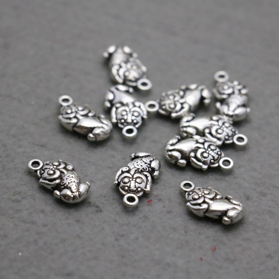 10 Stück Tier Glück Perlen Silber- Platte Diy Hardware Metall Zubehör Tasten Armaturen Für Schmuck Für Armband Kettenanhänger