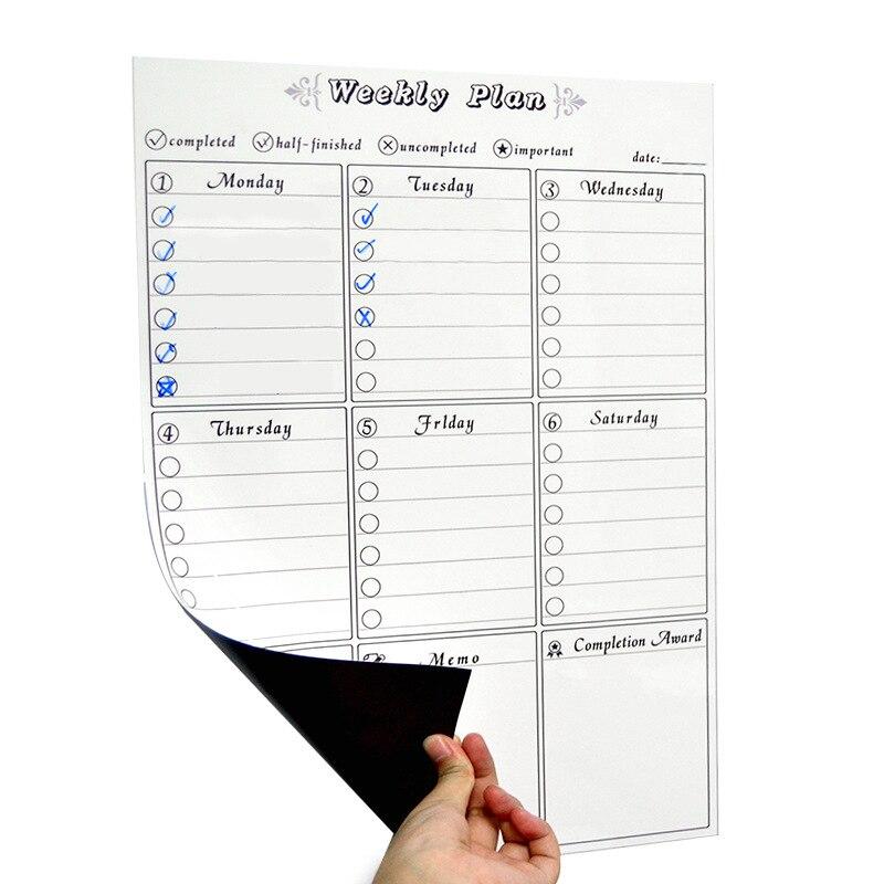 2019 calendrier hebdomadaire magnétique, planificateur hebdomadaire pour la maison bureau salle de classe réutilisable PET Film fournitures de bureau