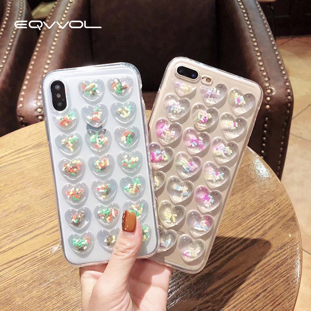 Eqvvol Fashion 3D DIY Love Heart Glitter Phone Case For iphone X 8 7 6 6S Plus Clear Soft TPU Silicone Back Cover For iphone 10
