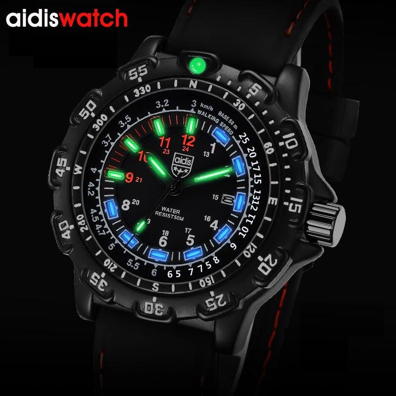 Ανδρικά ρολόγια χαλαζία αναλογικά χειρός φωτεινή κλήση οθόνη Casual ρολόγια χειρός Ανδρών στο σκοτάδι όπως το τρίτιο ρολόι