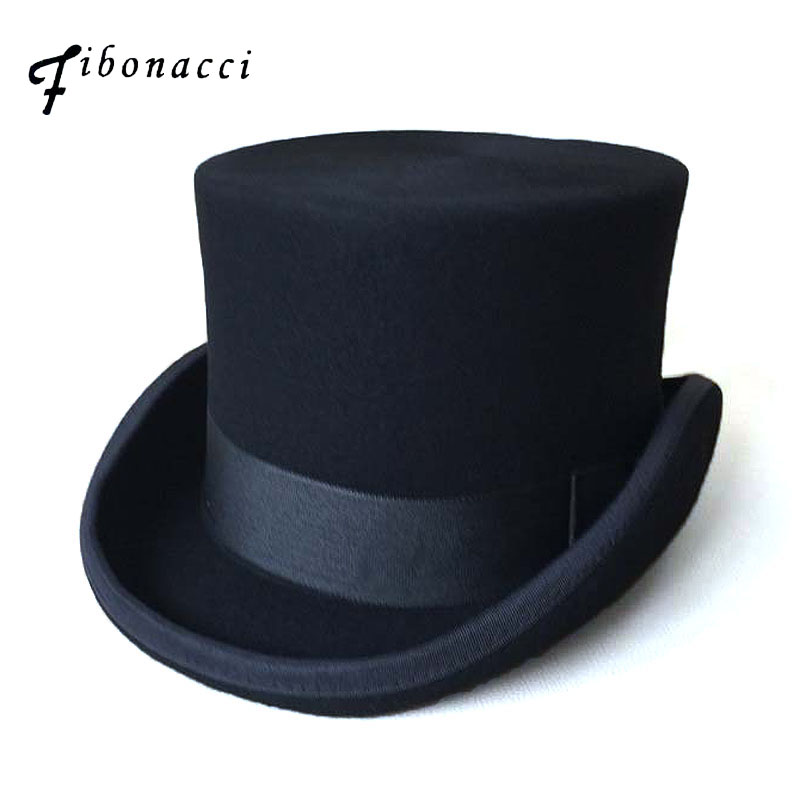 Patchwork Steampunk Victorian Formal Top Black Hat Wool Felt Vintage Magician <font><b>Fedoras</b></font> Mad Hatter President Bowler Hat