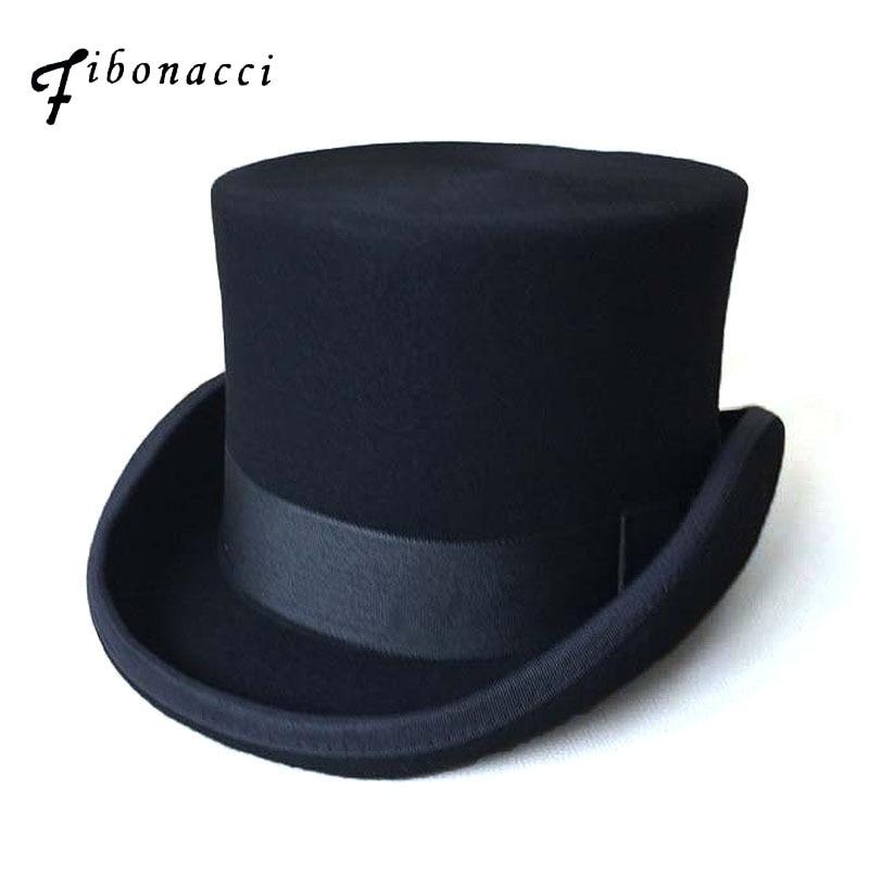 Patchwork Steampunk victorien formel haut noir chapeau laine feutre Vintage magicien Fedoras chapelier fou président chapeau melon