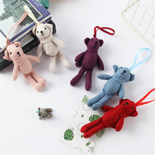 Mini Plush Toy Doll Cute Teddy Bear Linen Pendant Bag Accessories Wedding Gift Bouquet Dolls 17cm