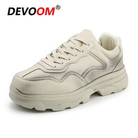 Fashion Woman Shoe Dirty White Sneakers Comfortable White Shoes Ladies Flat Shoes Golden Winter Leather Platform Shoes Women 42