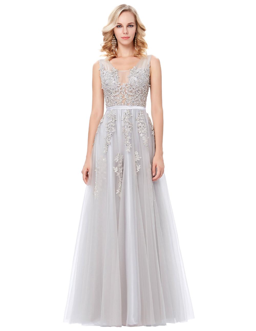 Grace Karin Tulle Appliques Celebrity Prom Dress Sexy V Back Sleeveless Long Royal Blue Robes De Soiree 2017 Longue Prom Dresses 17