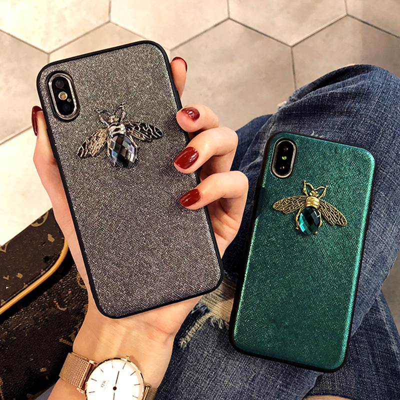 Luxury Fashion brand Diamond Bee Glitte soft case for iphone 6 S 7 8 plus X XR XS Max Cute Hard Cover for iphone 7 8 5 5S SE 6S (4)