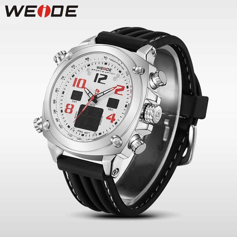 Brand WEIDE Fashion Casual Men Watch Dual Time Zone Display Silicone Strap Military Army Waterproof Wrist Watch Male Relogio waterproof weide brand military watch big round dial analog two time zones display leather strap men army sports waches relogio