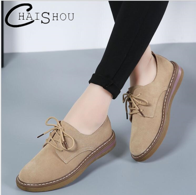 Spring Casual women Oxford boat Shoes Leather Suede Flat Shoes Women Lace Up Round Toe Casual Flats Shoes Ladies Footwear U083