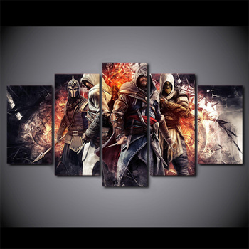 HD Printed Wall Art Modular Canvas Pictures 5 Pieces Game Assassin Creed For Living Room Modern Home Decoration Posters Painting