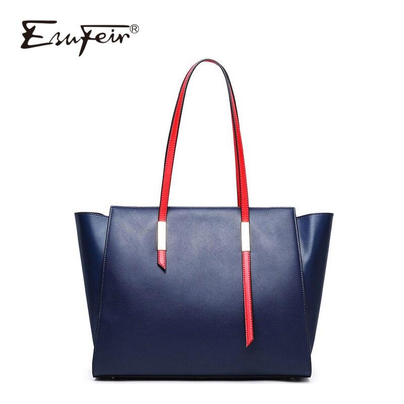 ESUFEIR New Genuine Leather Ladies Handbag Solid Color Large capacity One Shoulder Tote Bag Fashion Designer