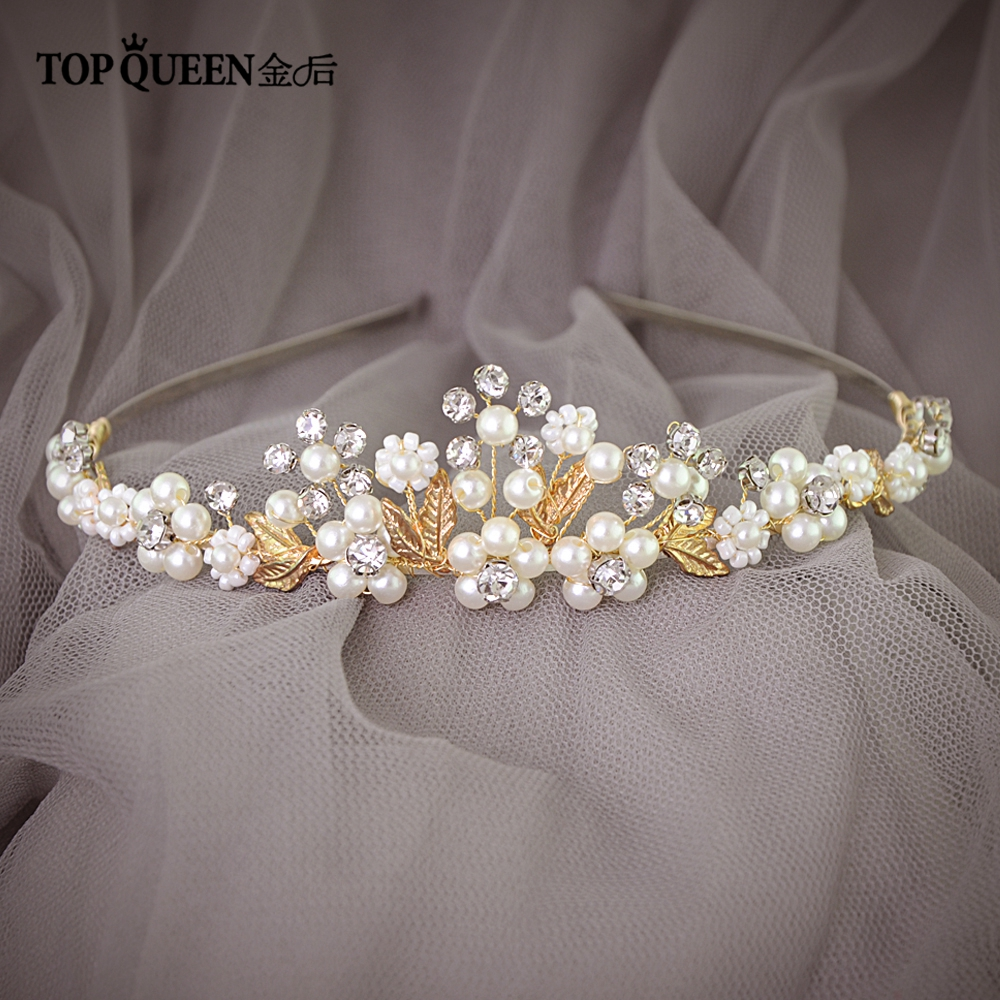 TOPQUEEN Gold Leaf Wedding Hair Vine Wedding Head Pieces For Women Vintage Bridal Headpiece Diamond Headband HP150