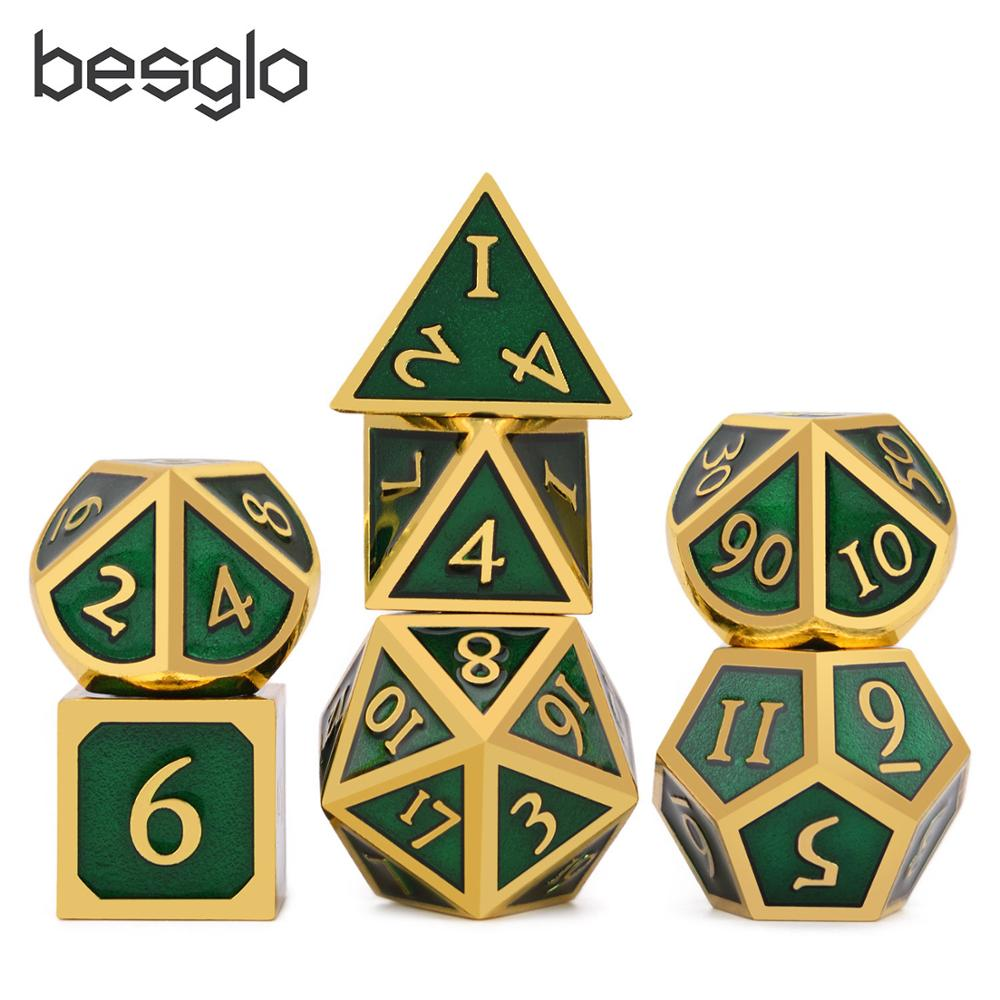 Metal Dice D4 D6 D8 D10 D% D12 D20 With Black Soft Drawstring Pouch For DnD RPG Board Games Gold & Green