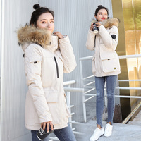 women ladies parkas coats jackets 2019 autumn winter plus large size warm fitness Large collar Long Cotton faked hooded white