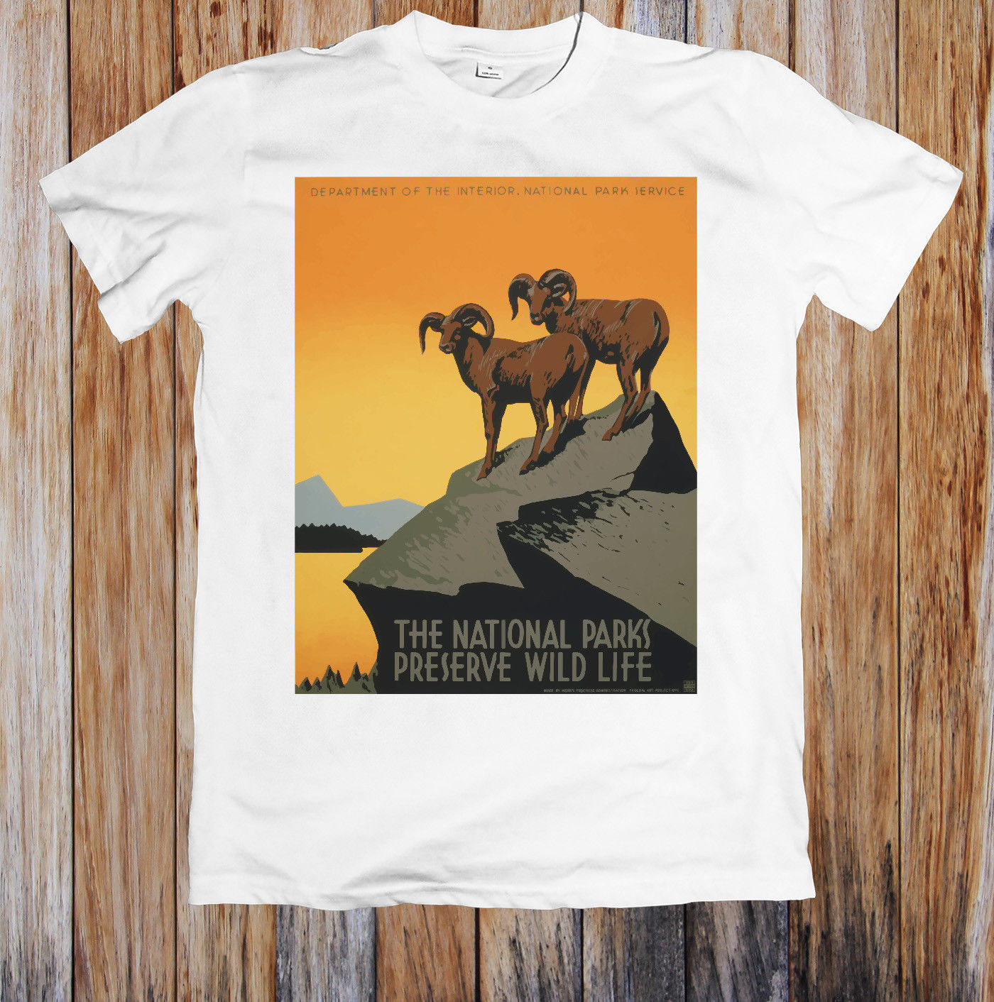 VINTAGE TRAVEL POSTER NATIONAL PARKS AMERICA UNISEX T-SHIRT Tshirt Men Black Short Sleeve Cotton Hip Hop T-Shirt Print Tee Shirt image