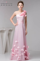 2019 на одно плечо розовый с аппликацией оборками Элегантный длинный Тюль трапециевидной формы Платья для подружек невесты свадебные вечерн