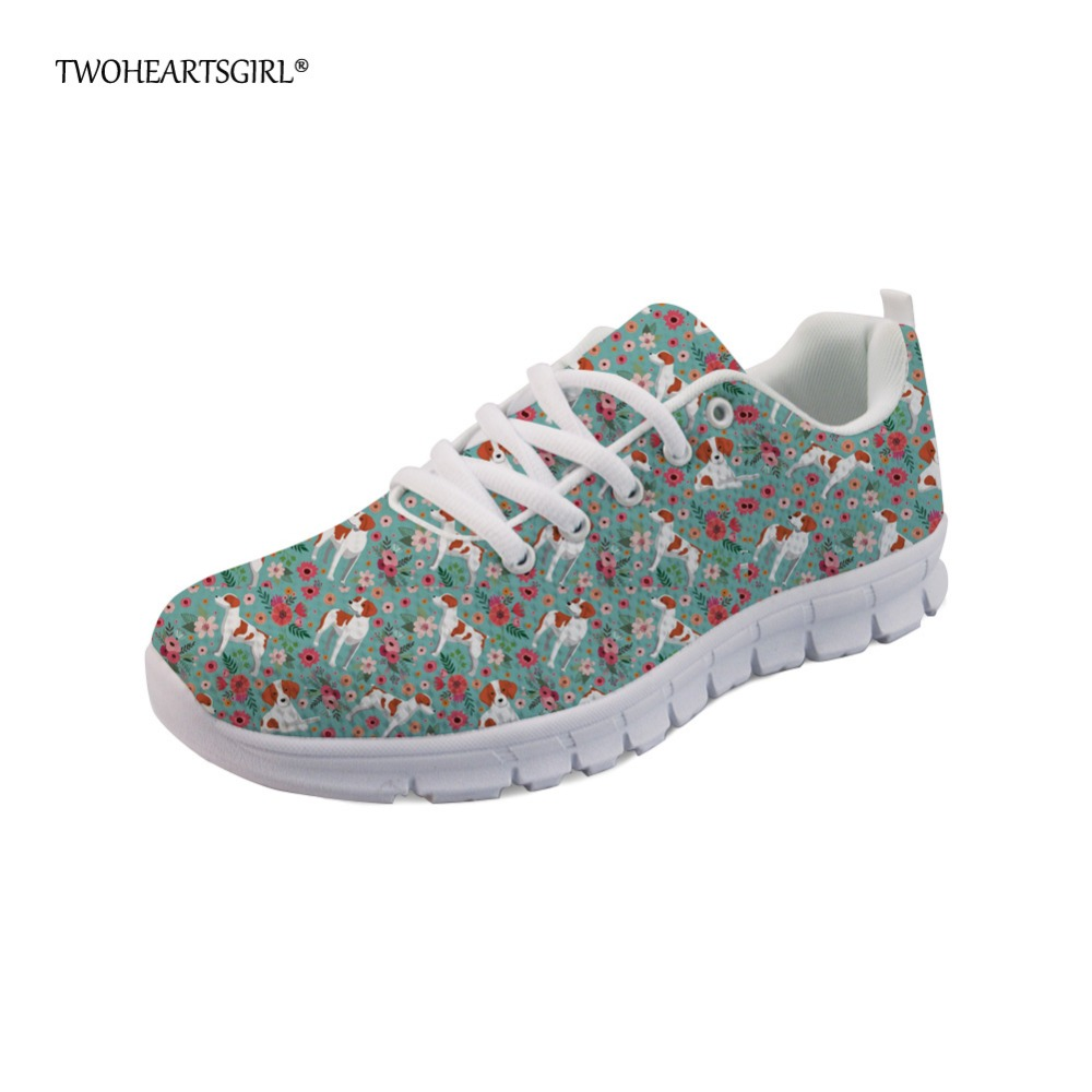 Twoheartsgirl Casual Brittany Dog Flat Sneakers Comfortable Women College Girls Breathable Flats Mesh Lace Up Walking Shoes instantarts women flats emoji face smile pattern summer air mesh beach flat shoes for youth girls mujer casual light sneakers