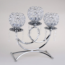 Crystal Metal Votive Candle Holder 3 arms Candle Stick Table Centerpieces for Wedding Decor Home Crafts Tealight Candle Holders