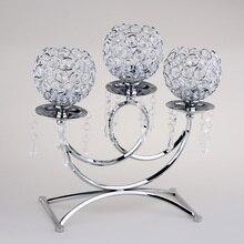 Kristal Metal dilek mumluğu 3 kollu mumluk masa Centerpieces düğün dekor ev el sanatları Tealight mumluklar
