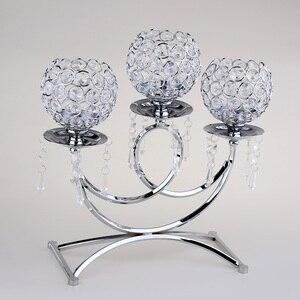 Image 1 - Kristal Metal dilek mumluğu 3 kollu mumluk masa Centerpieces düğün dekor ev el sanatları Tealight mumluklar