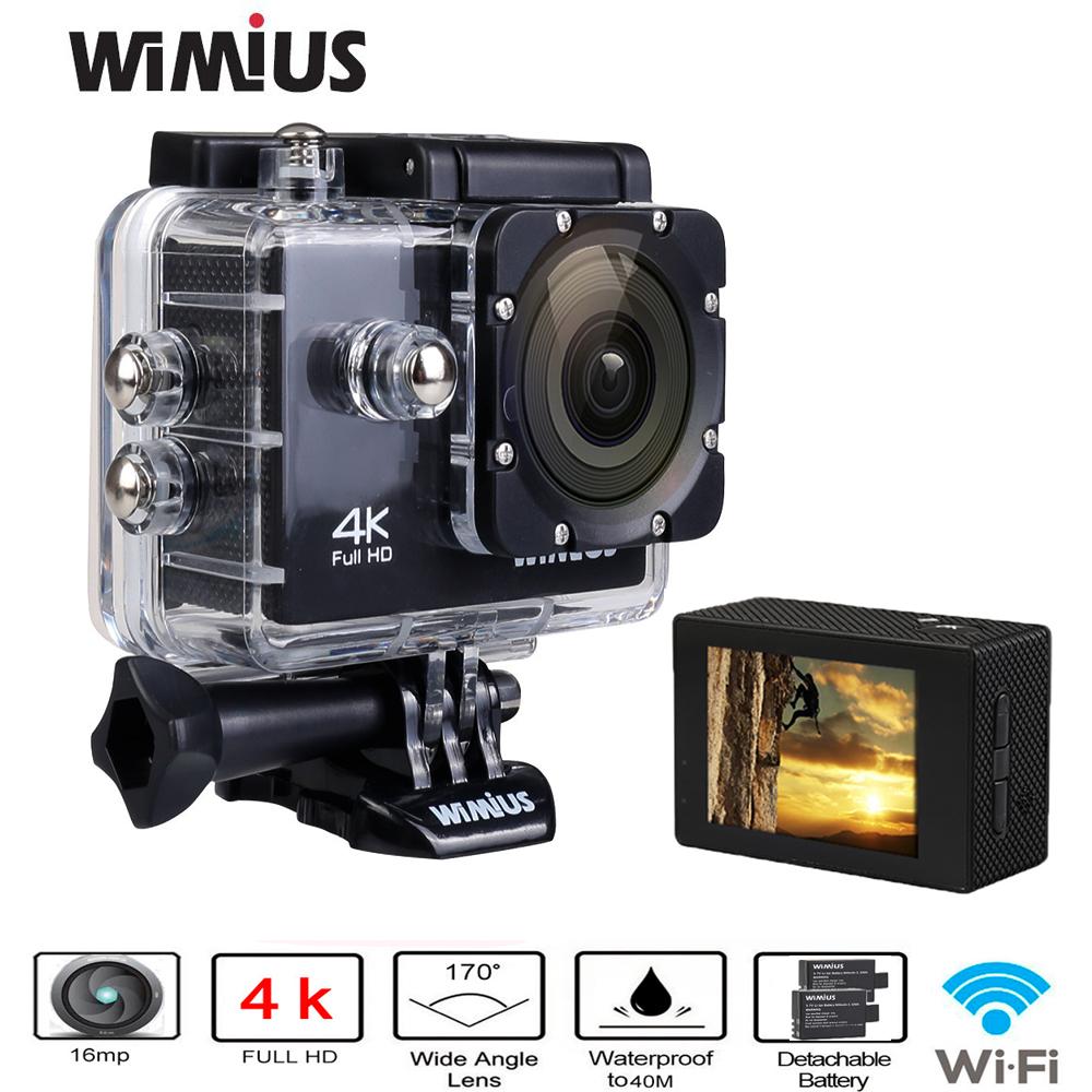 Prix pour Wimius 4 K Action Sports Caméra Wifi 16MP HD 2.0 pouce Étanche Vidéo Caméra De Voiture DVR Casque Cam + 2 pcs Batteries + Accessoires Kits