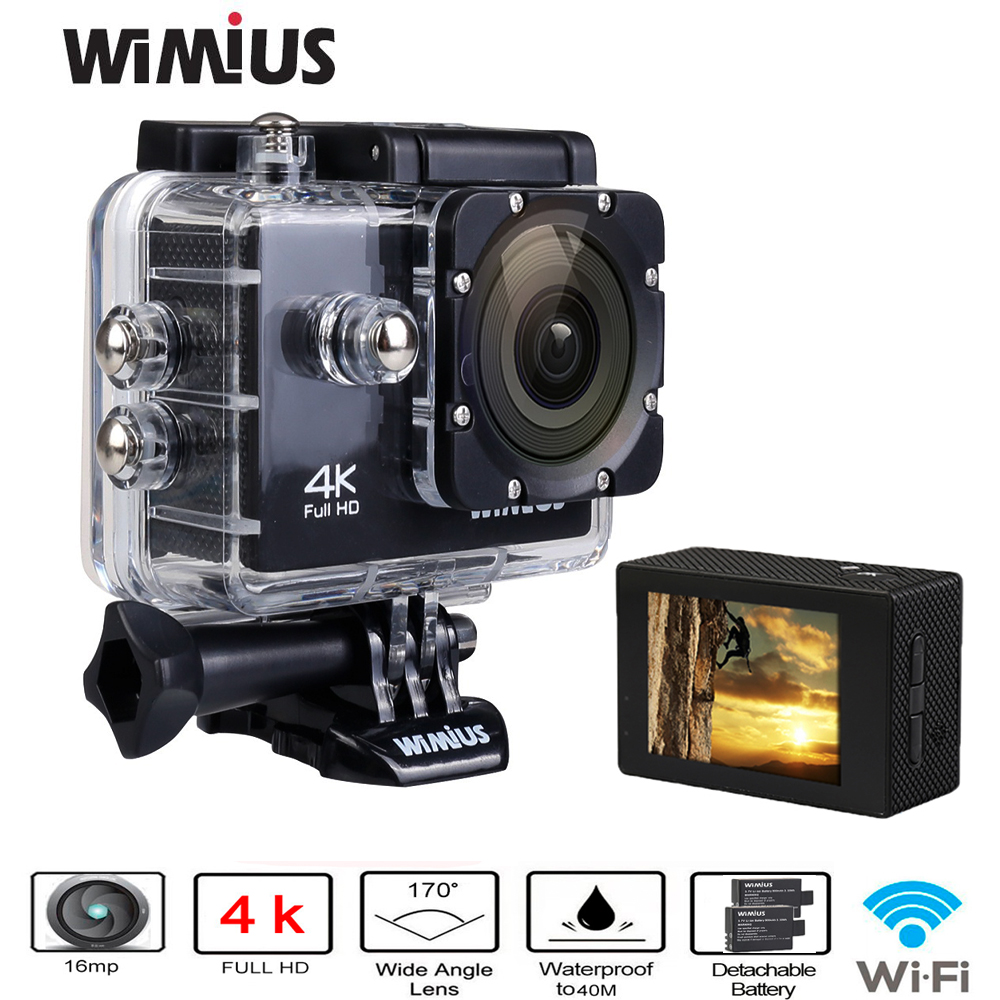 Wimius 4K Sports Action Camera Wifi 16MP HD 2.0inch Waterproof Video Camera Car DVR Helmet Cam +2pcs Batteries +Accessories Kits free shipping 4k hd wifi sports action camera 2 0 lcd 16mp extra 2 batteries 32gb tf card