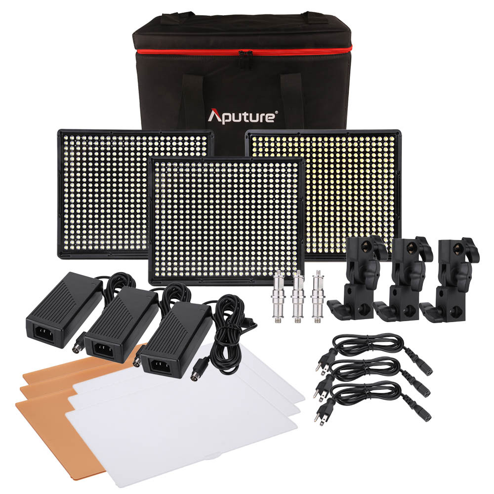 Aputure LED video DSLR camera light set 528KIT-CSW LED Photography Light led photography light led light panel for video Camera aputure amaran led video camera light set hr672kit led photography light led light hr672ssw kit 3 led video light set