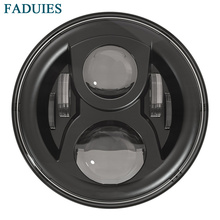 """FADUIES Black 7"""" Round Motorcycle LED Projector Headlight High Low Beam for Motorcycle & Jeep Wrangler"""