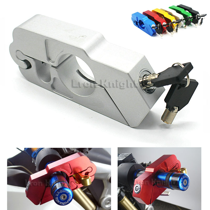 For BMW F700GS R1200GS F800GS ADV F650GS Motorcycle Handlebar Lock Scooter ATV Brake Clutch Security Safety Theft Protection sliver rear foot brake lever peda enlarge extension rear brake peg pad extender for bmw r1200gs f800gs adv f700gs f650gs r1150gs