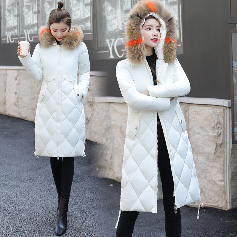 SWREDMI Fashion Winter Coat Women Plus Size S-3XL Winter Long   Parkas   Hooded White Cotton Padded Jacket Overcoat Wadded Jackets