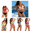 Sexy Bandage Bikini 2017 Cross Patchwork Print Biquini Women Swimwear Push Up Maillot Swimsuit Bathing Suits