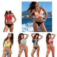 2017 Sexy Bikini Costume Da Bagno Donna Push Up Costumi Da Bagno Criss Cross Dalla Fasciatura del Halter Bikini Beach Costume Da Bagno Swim Wear XXL