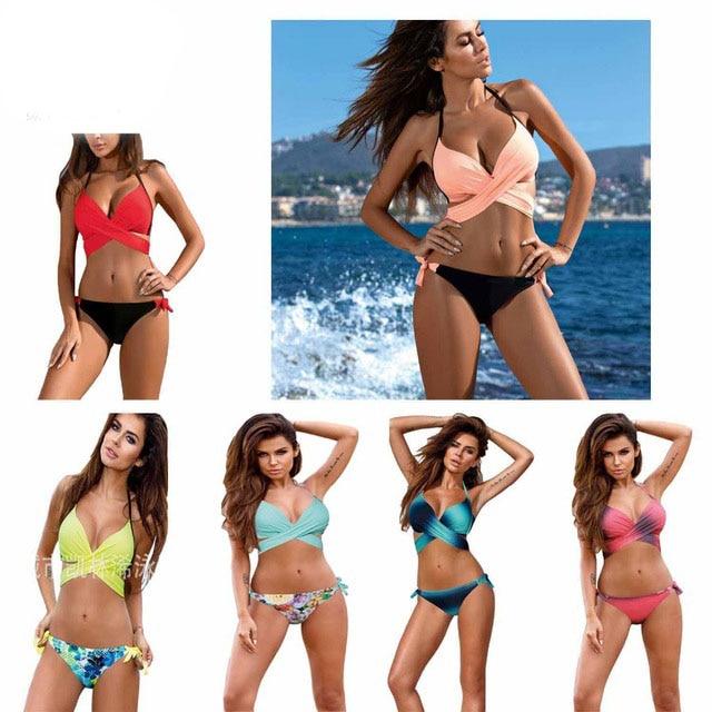 2017 Sexy Bikini Women Swimsuit Push Up Swimwear Criss Cross Bandage Halter Bikini Set Beach Bathing Suit Swim Wear XXL thinkthendo 2017 sexy cross brazilian bikini women swimwear swimsuit push up bikini set halter top beach bathing suits swim wear