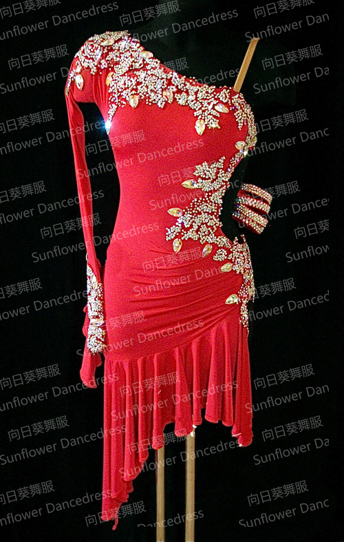 NEW Rumba Jive Chacha Latin Dance Dress,tango salsa samba dance dress, latin dance wear , cha-cha ,Sunflower Dance Dress,red
