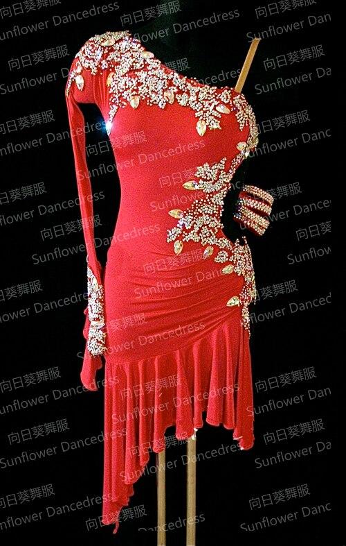 NEW Rumba Jive Chacha Latin Dance Dress,tango Salsa Samba Dance Dress, Latin Dance Wear , Cha-cha  ,Sunflower Dance Dress,red