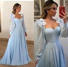 Sky Blue Muslim Evening Dresses 2019 A-line Sweetheart Long Sleeves Chiffon Plus Size Saudi Arabic Dubai Gown Prom