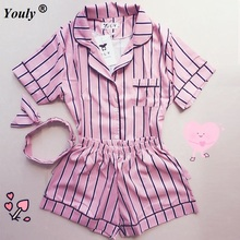 Plus Size 2017 Summer women Striped Short sleeve Pajamas Female 3 pieces sets hot Shorts Tracksuit Sleepwear Loose shirts tops